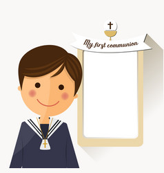 First communion child foreground with message vector
