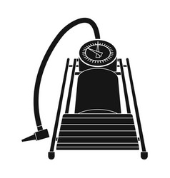 Foot pump for car single icon in black style for vector