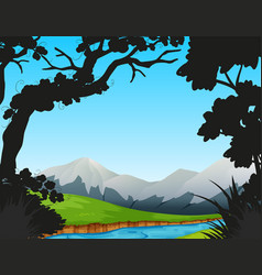 forest scene with river and mountains vector image