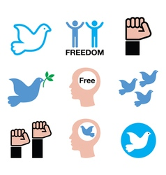 Freedom icons set - dove and fist symbols vector image vector image