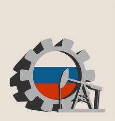 Gear with oil pump textured by russia flag vector