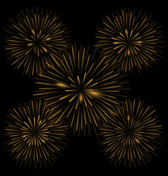 golden realistic fireworks vector image vector image