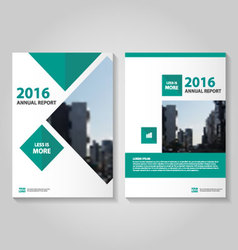 Green square annual report leaflet brochure set vector