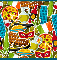 Italy seamless pattern italian sticker symbols vector
