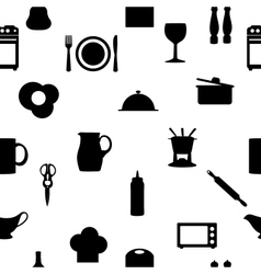Kitchen tools icons silhouette seamless pattern vector