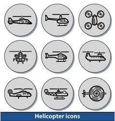 light helicopter icons vector image