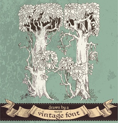 magic grunge forest hand drawn by vintage font - H vector image vector image