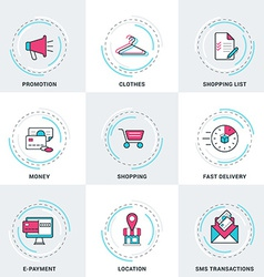 Modern Business and Shopping Line Icons Set vector image