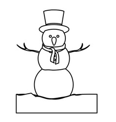 Monochrome contour with snowman in ice block with vector
