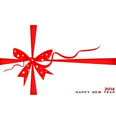 New Year Gift Card with Red Ribbon vector image