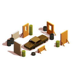 paintball playground isometric composition vector image vector image