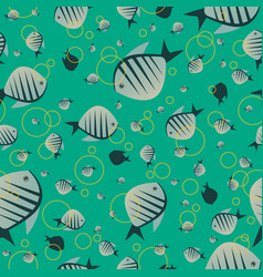 pattern with cute fish in green color vector image vector image