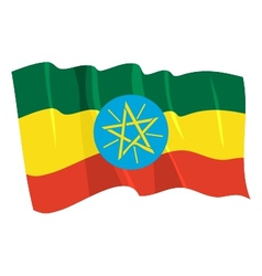Political waving flag of ethiopia vector