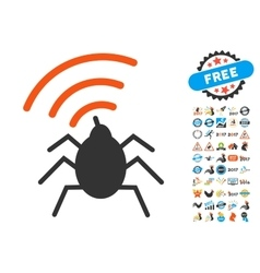 Radio Spy Bug Icon with 2017 Year Bonus Symbols vector image vector image