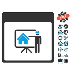 Realty developer calendar page icon with vector