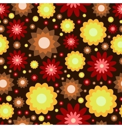Red yellow and brown flowers pattern vector image vector image