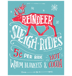 reindeer sleigh rides retro poster vector image vector image