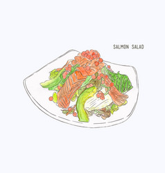 Salmon salad hand drawn water color sketch vector