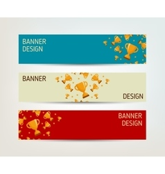 Set of banners with winners cup vector image vector image