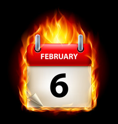 sixth february in calendar burning icon on black vector image