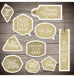 Stickers on rustic wood background vector image vector image