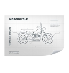 Technical wireframe with motorbike vector