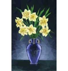 Vase with Narcissus Flowers vector image