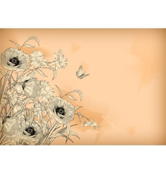 Watercolor Pencil Drawing Flowers Butterfly vector image vector image