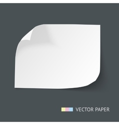White paper sheet with curved corners vector image vector image