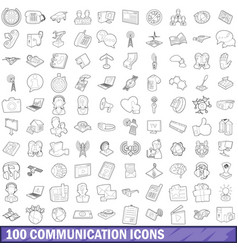 100 communication icons set outline style vector image