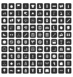 100 kettlebell icons set black vector