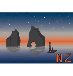 New zealand night landscape vector
