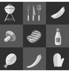 Barbecue grill black and white icons set vector