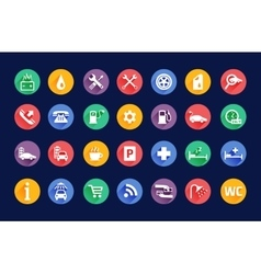 Roadside services transportation icons set vector