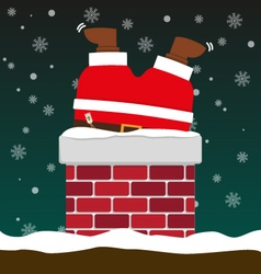 Cute fat big santa claus stuck in chimney vector