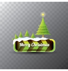 Christmas green button with christmas tree vector