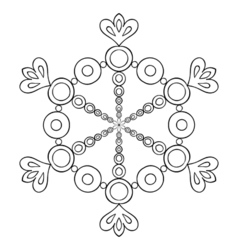 Paper cutout snow flake in zentangle style doodle vector