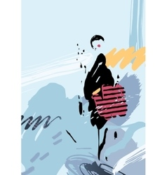 Stylish woman with bag on the abstract background vector
