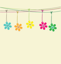 cute flowers hanging on string vector image