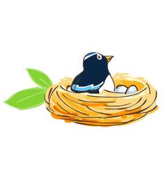 Bird hatch her egg in nest vector