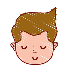 Cute man head with hairstyle design vector