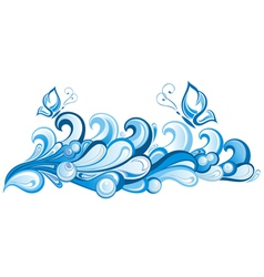 Water abstract background with butterfly vector