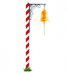 post with hanging bell vector image