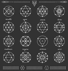 Set of geometric hipster shapes45x66black vector