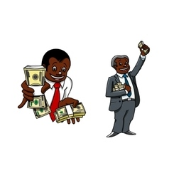 Cartoon businessmen with money packs vector