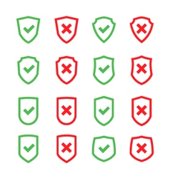Set of shields with checkmark symbol flat vector