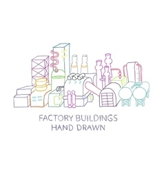 Hand draw of factory buildings vector