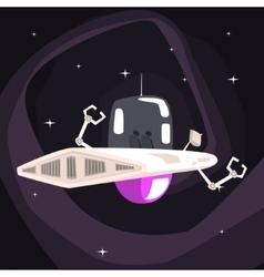 Alien robotic ufo spacecraft with metal arms vector