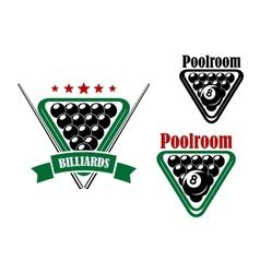 Billiard or poolroom emblem vector