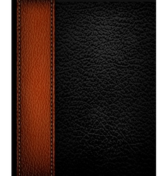 Black leather background with brown leather strip vector image vector image